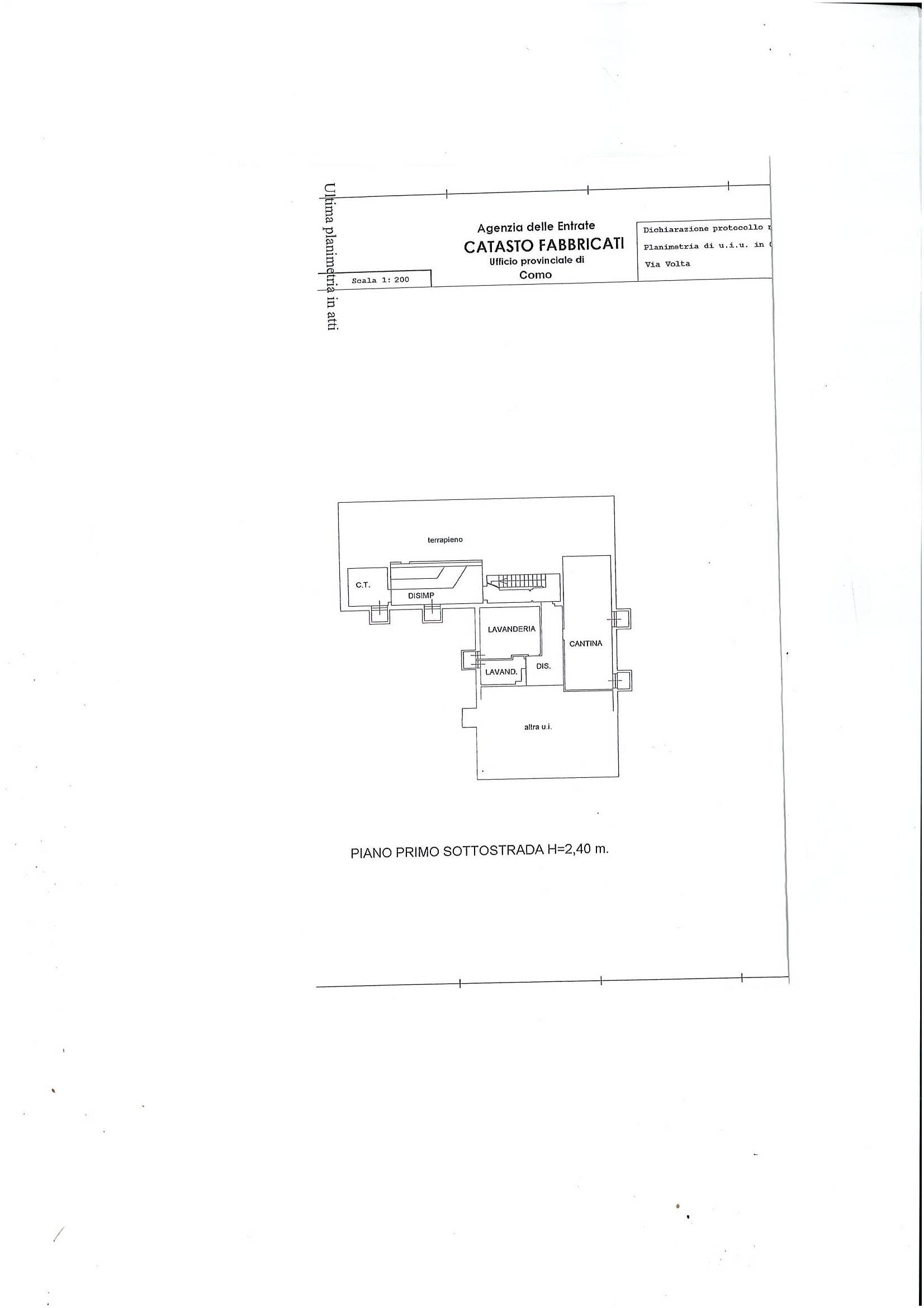 Planimetria piano primo sottostrada