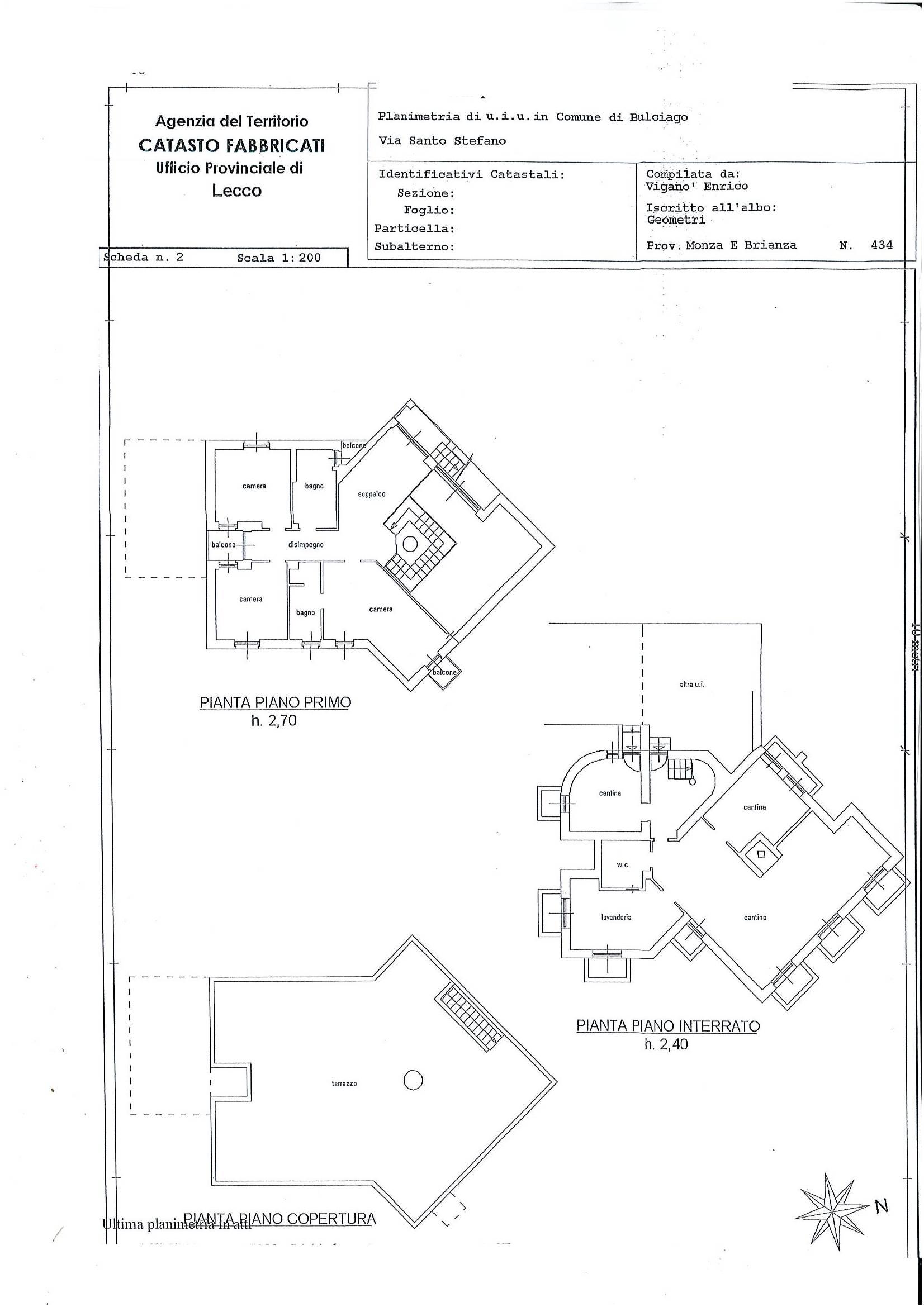 Planimetria p.primo, interrato, copertura